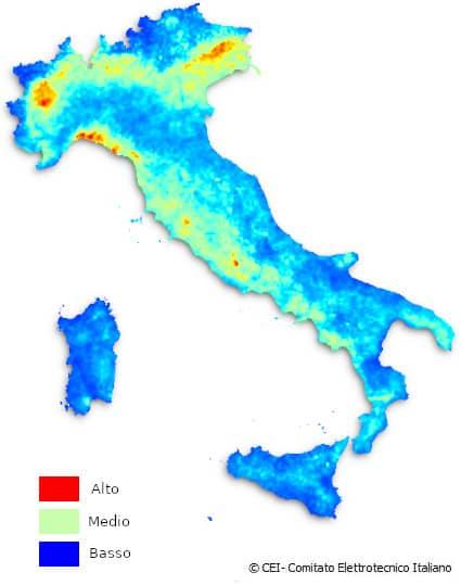 mappa italiana densità ceraunica